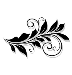 Decorative floral element with shadow vector image