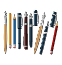 Different pens and pencils vector image