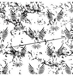Flying bird pattern grunge monochrome vector