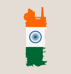 Isolated factory icon and grunge brush india flag vector