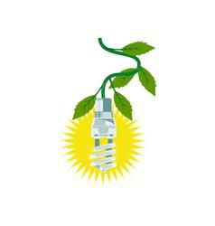 Lightbulb with leaves vector