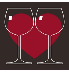 Love Wine Glasses vector image vector image