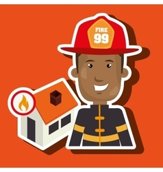 Man firefighter house fire vector