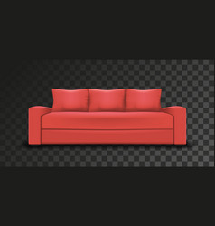 mesh of realistic red sofaon vector image vector image