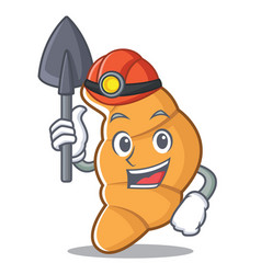 Miner croissant character cartoon style vector