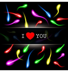 Moving colorful sperm on black background vector