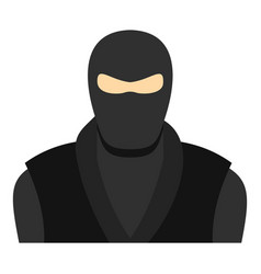 Ninja in black clothes and mask icon isolated vector