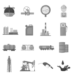 Oil industry set icons in monochrome style big vector