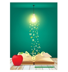 Open book with light bulb and falling letters vector image