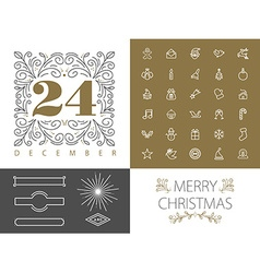 Retro hispter monogram line set christmas design vector