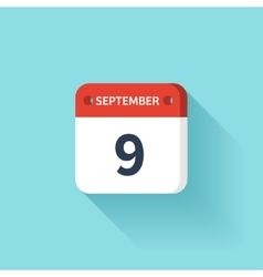 September 9 Isometric Calendar Icon With Shadow vector image vector image