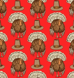 Sketch thanksgiving hat and turkey vector