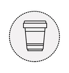 Sticker circular shape silhouette glass disposable vector