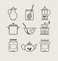 Tableware set icon vector