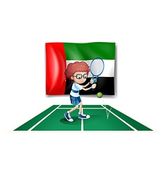 The UAE flag at the back of a tennis player vector image
