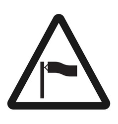 Warning wind sign line icon vector