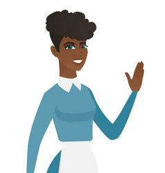 Young african-american cleaner waving her hand vector