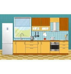 Kitchen interior concept vector