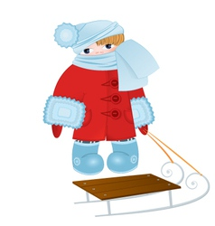 Cartoon kid with sled vector