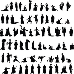 Asian silhouettes set vector image
