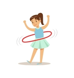 Girl doing hula-hoop kid practicing different vector