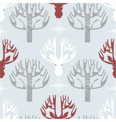 Deer and trees print vector image