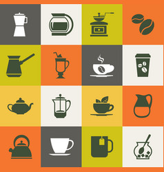 multicolor coffee icons set vector image