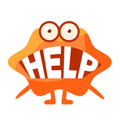Orange blob saying help cute emoji character with vector