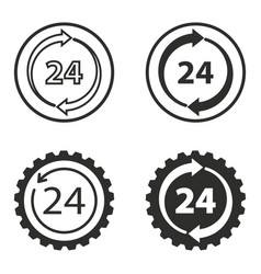 24 hour service icons set vector image