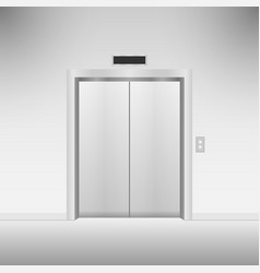 Closed chrome metal elevator doors vector