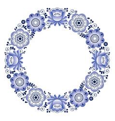 russian folk art round pattern - gzhel ceramics vector image