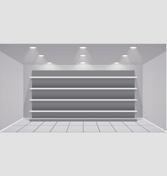 Interior store with empty shelves vector