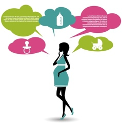 Silhouette of a pregnant woman with speech bubbles vector image