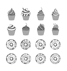 Donut cupcake icons vector