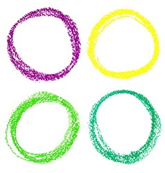 Set of mardi gras circle spots of pastel crayon vector