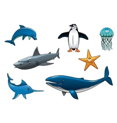 Marine wildlife colored animal characters vector
