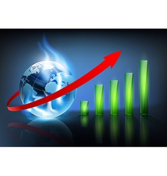 financial charts and planet earth with a blue vector image
