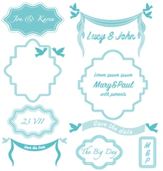 Wedding frames vintage invitation borders vector