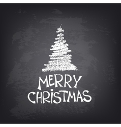 Hand drawn merry christmas text with stylized tree vector