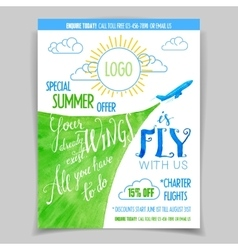 Airline promotional watercolor flyer vector