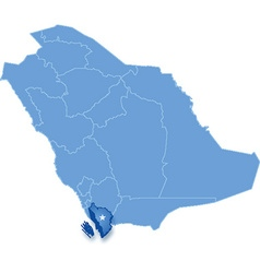 Map of saudi arabia the region jizan vector