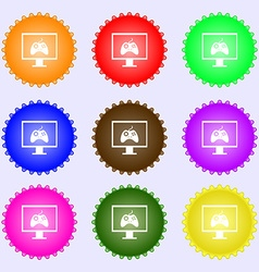 Joystick and monitor sign icon video game symbol a vector