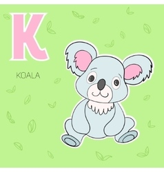 Alphabet letter k koala children vector