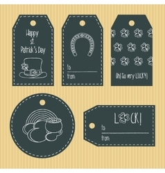 Happy st Patricks day gift tags from chalky vector image