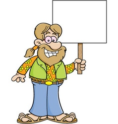 Cartoon hippie holding a sign vector image