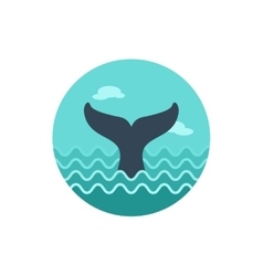 Whale tail icon summer vacation vector
