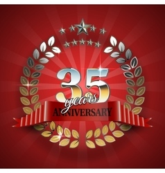 Anniversary 35th ring with red ribbon vector
