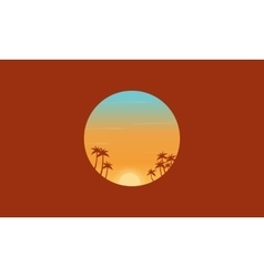 At sunset palm trees silhouettes scenery vector image vector image