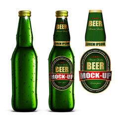 Beer-mock-up-set green bottle without a label vector