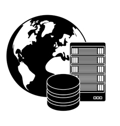 Black global database server banner icon vector